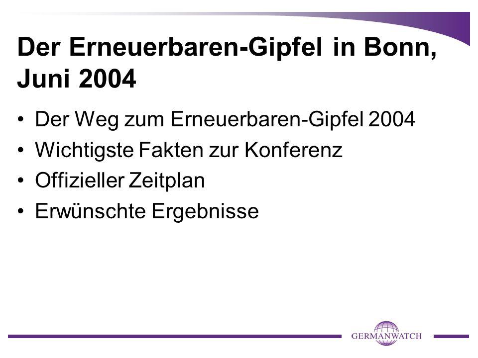 Der Erneuerbaren-Gipfel in Bonn, Juni 2004