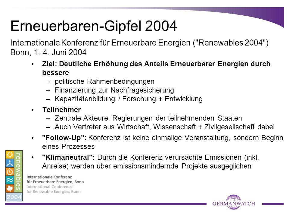 Erneuerbaren-Gipfel 2004 Internationale Konferenz für Erneuerbare Energien ( Renewables 2004 ) Bonn, 1.-4. Juni 2004.