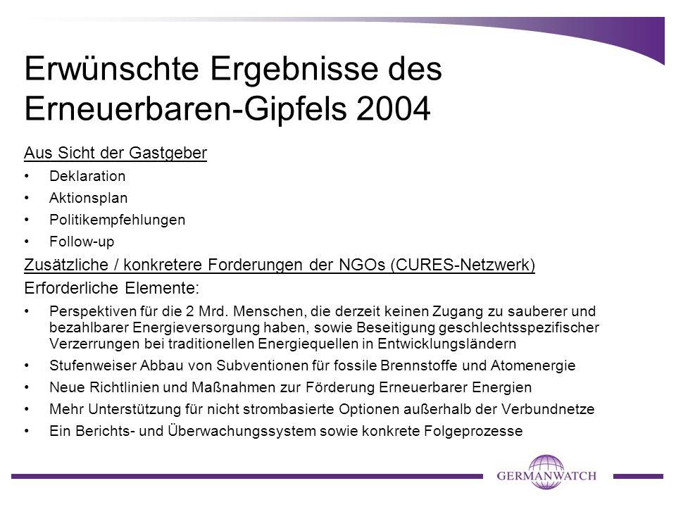 Erwünschte Ergebnisse des Erneuerbaren-Gipfels 2004