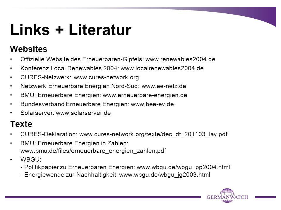 Links + Literatur Websites Texte