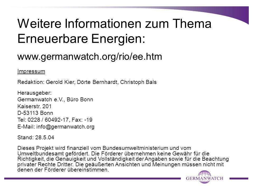 Weitere Informationen zum Thema Erneuerbare Energien: