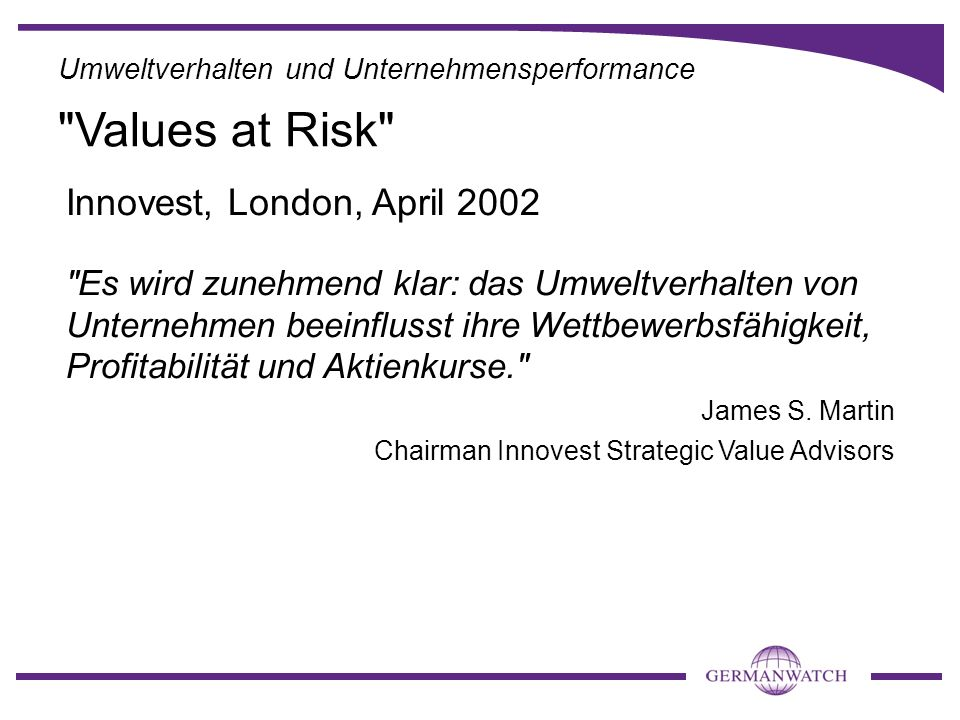 Values at Risk Innovest, London, April 2002