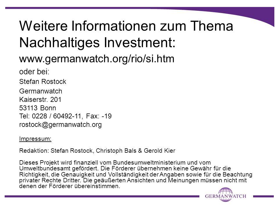 Weitere Informationen zum Thema Nachhaltiges Investment:
