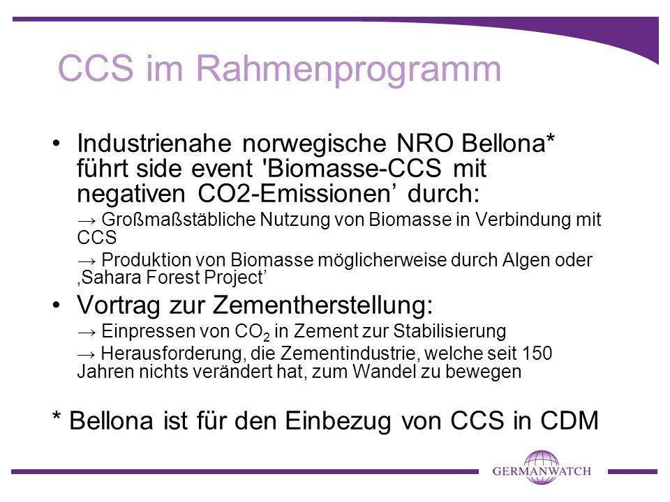 CCS im Rahmenprogramm Industrienahe norwegische NRO Bellona* führt side event Biomasse-CCS mit negativen CO2-Emissionen' durch:
