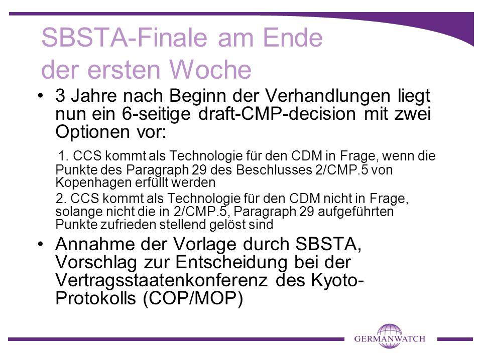 SBSTA-Finale am Ende der ersten Woche