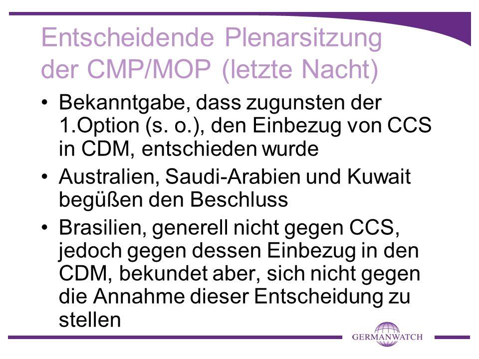 Entscheidende Plenarsitzung der CMP/MOP (letzte Nacht)