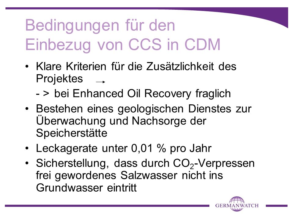 Bedingungen für den Einbezug von CCS in CDM
