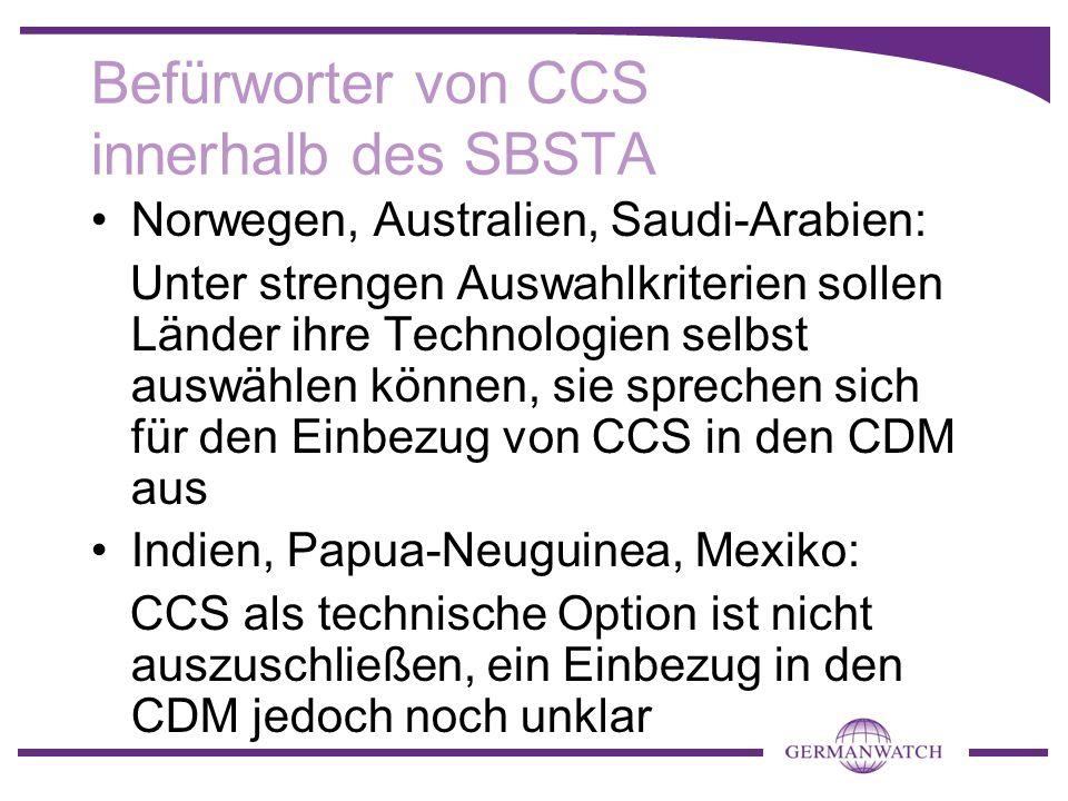 Befürworter von CCS innerhalb des SBSTA