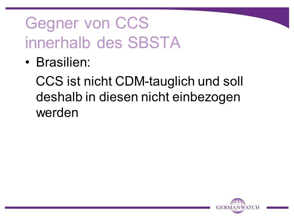 Gegner von CCS innerhalb des SBSTA