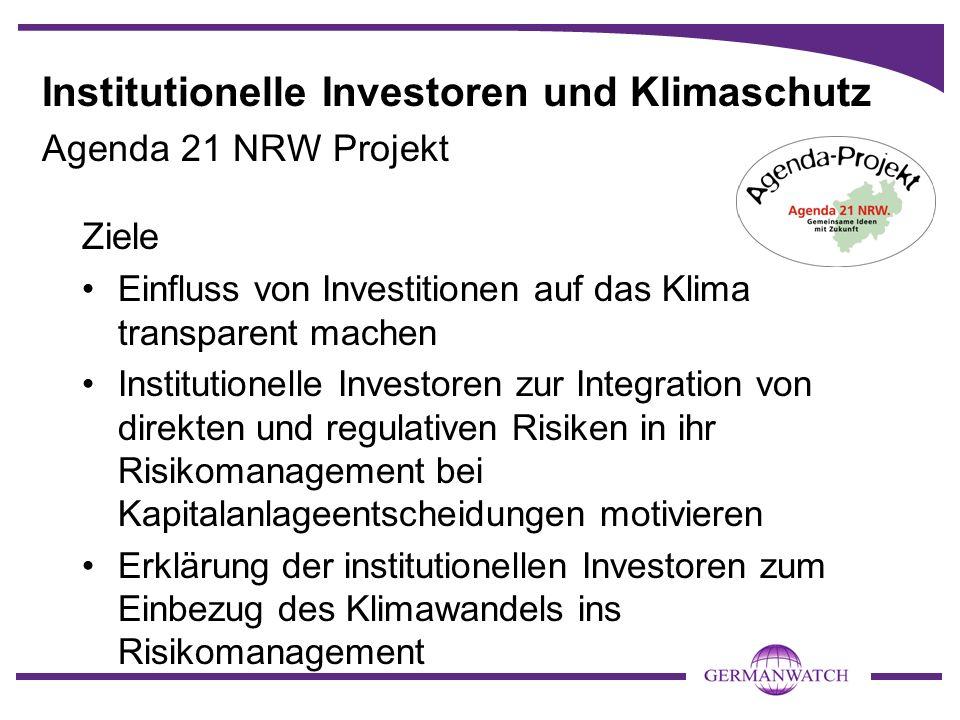 Institutionelle Investoren und Klimaschutz Agenda 21 NRW Projekt