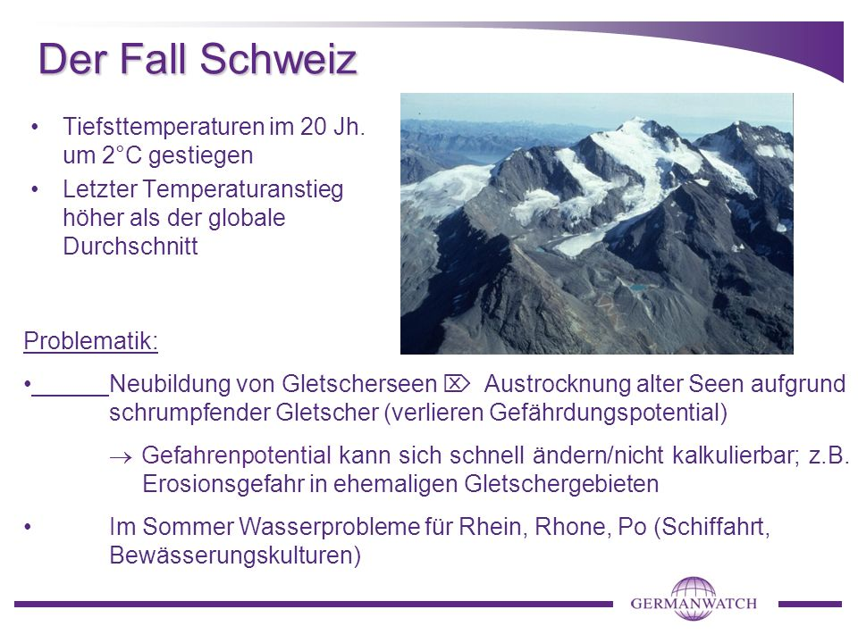 Der Fall Schweiz Tiefsttemperaturen im 20 Jh. um 2°C gestiegen