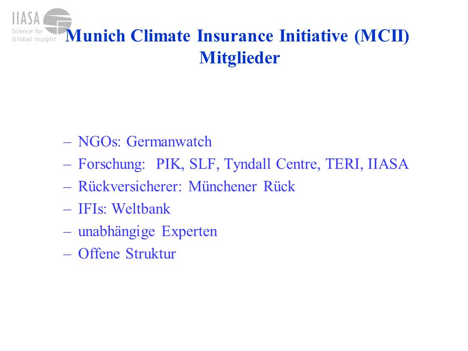Munich Climate Insurance Initiative (MCII) Mitglieder