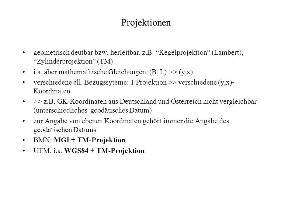 Projektionen geometrisch deutbar bzw. herleitbar, z.B. Kegelprojektion (Lambert), Zylinderprojektion (TM)