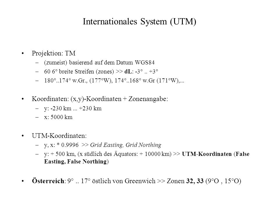 Internationales System (UTM)