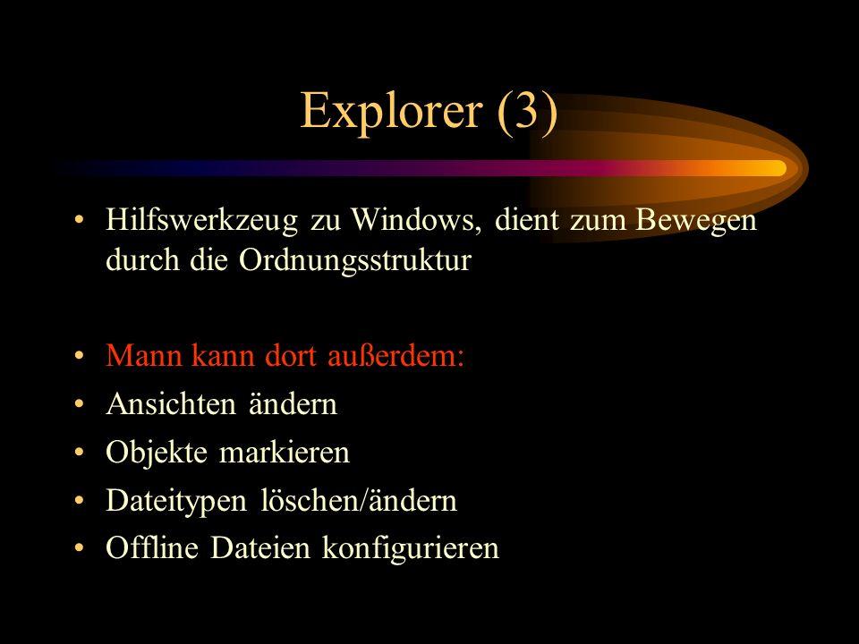 Explorer (3) Hilfswerkzeug zu Windows, dient zum Bewegen durch die Ordnungsstruktur. Mann kann dort außerdem: