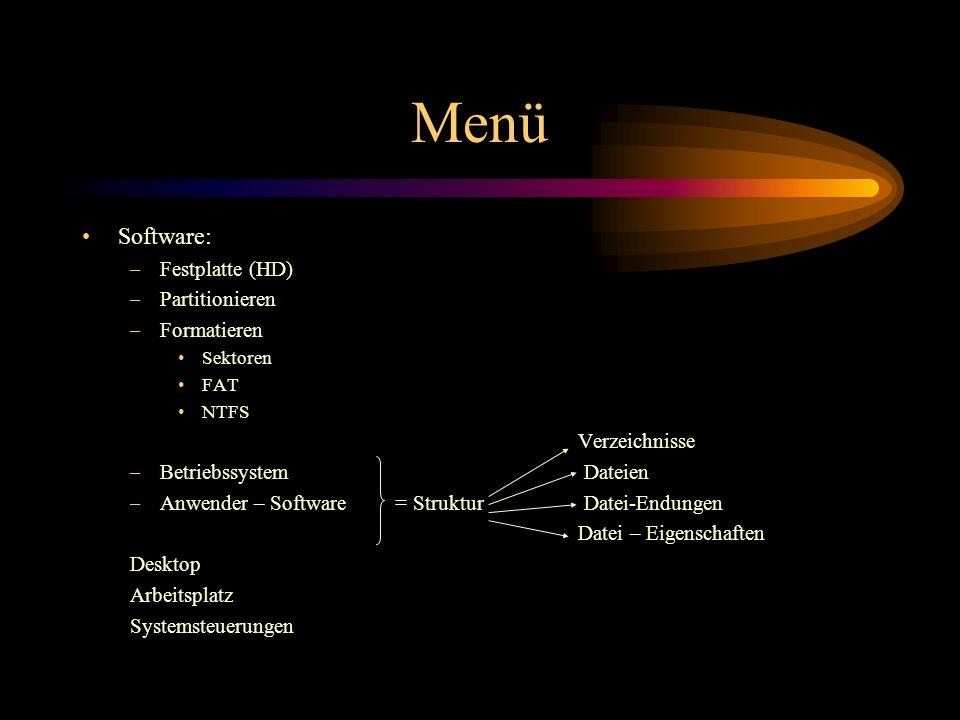Menü Software: Festplatte (HD) Partitionieren Formatieren