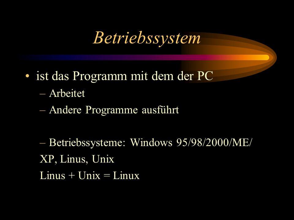 Betriebssystem ist das Programm mit dem der PC Arbeitet