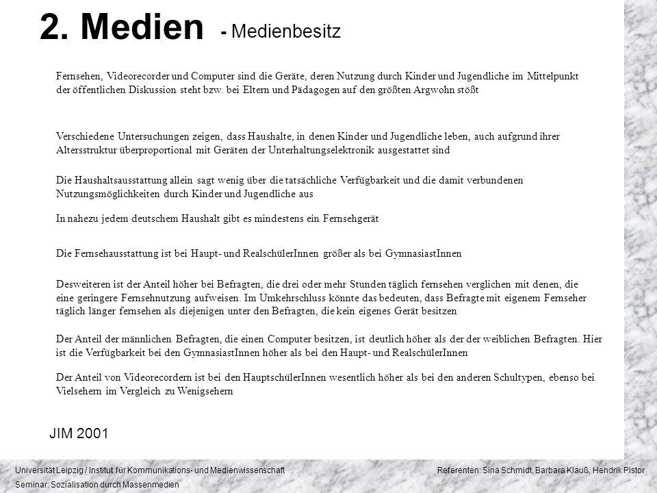 2. Medien - Medienbesitz JIM 2001