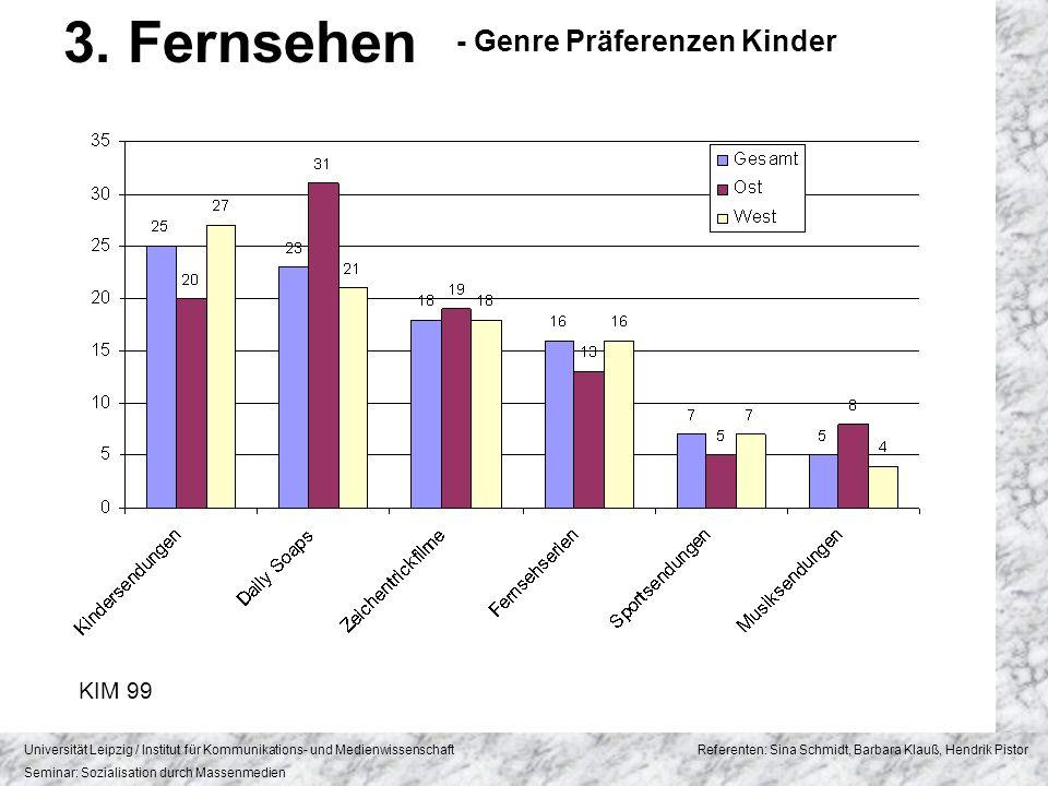 3. Fernsehen - Genre Präferenzen Kinder KIM 99