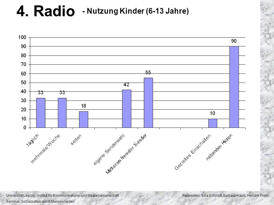 4. Radio - Nutzung Kinder (6-13 Jahre)