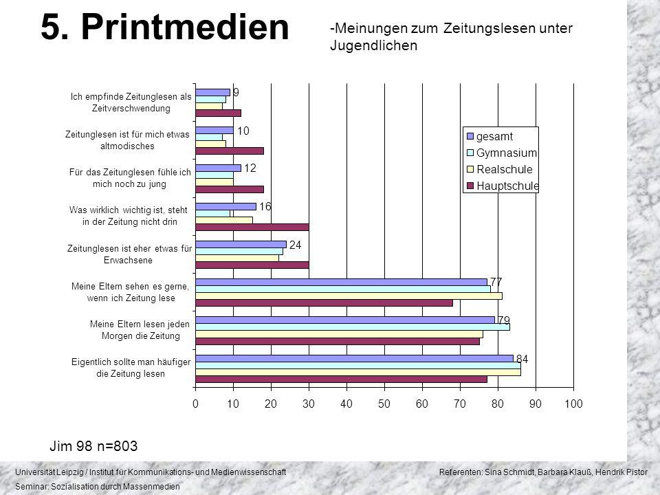5. Printmedien Meinungen zum Zeitungslesen unter Jugendlichen