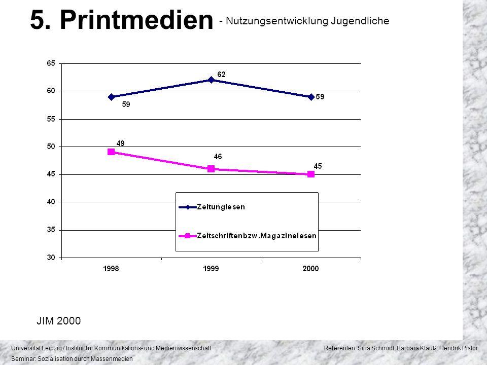 5. Printmedien - Nutzungsentwicklung Jugendliche JIM 2000