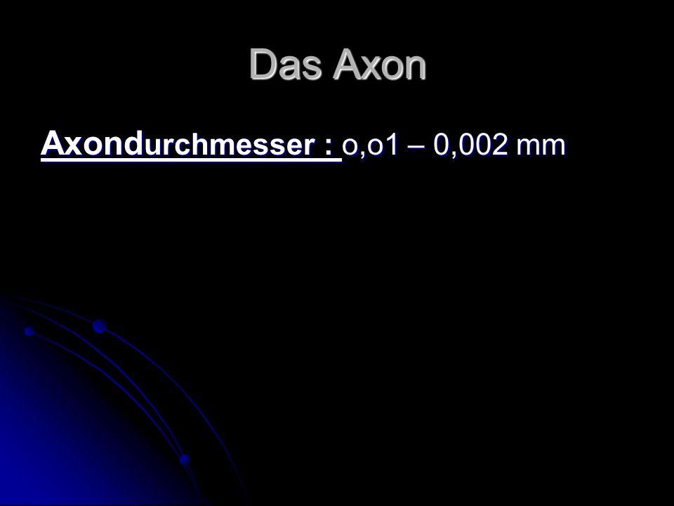 Das Axon Axondurchmesser : o,o1 – 0,002 mm
