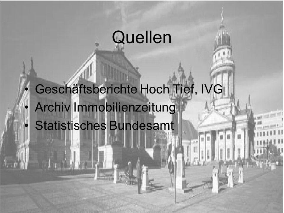 Quellen Geschäftsberichte Hoch Tief, IVG Archiv Immobilienzeitung