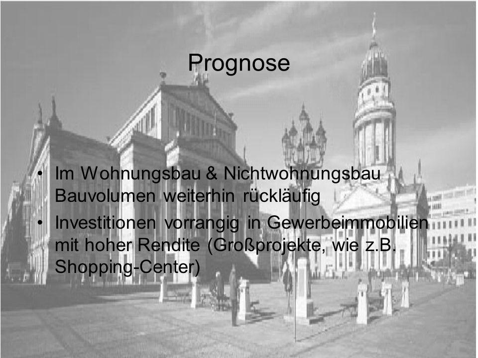 Prognose Im Wohnungsbau & Nichtwohnungsbau Bauvolumen weiterhin rückläufig.