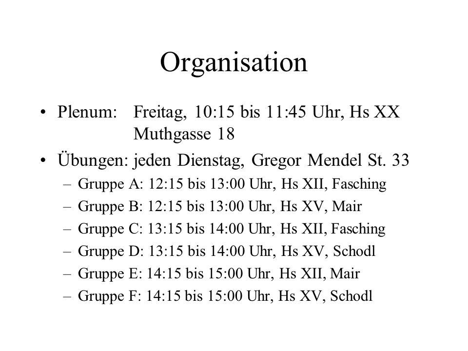Organisation Plenum: Freitag, 10:15 bis 11:45 Uhr, Hs XX Muthgasse 18