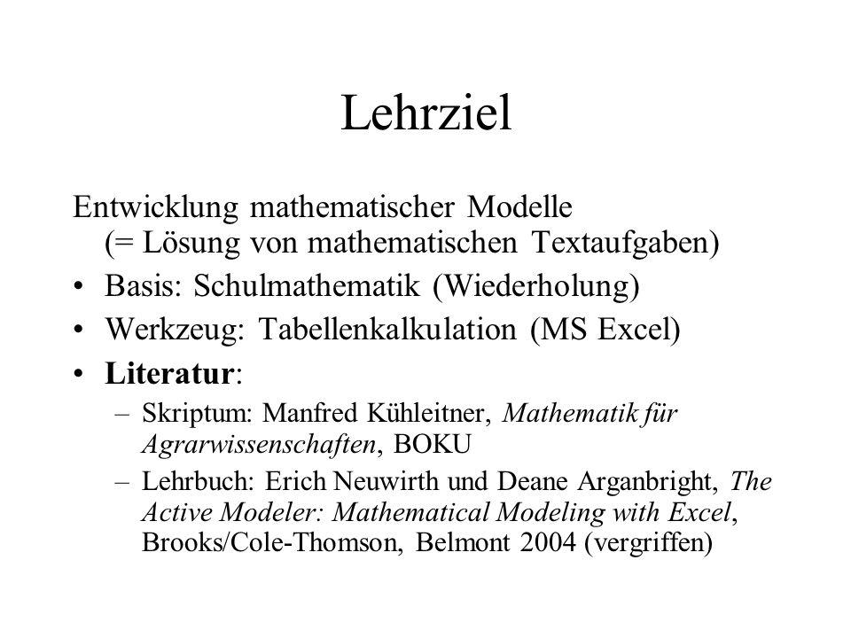Lehrziel Entwicklung mathematischer Modelle (= Lösung von mathematischen Textaufgaben) Basis: Schulmathematik (Wiederholung)