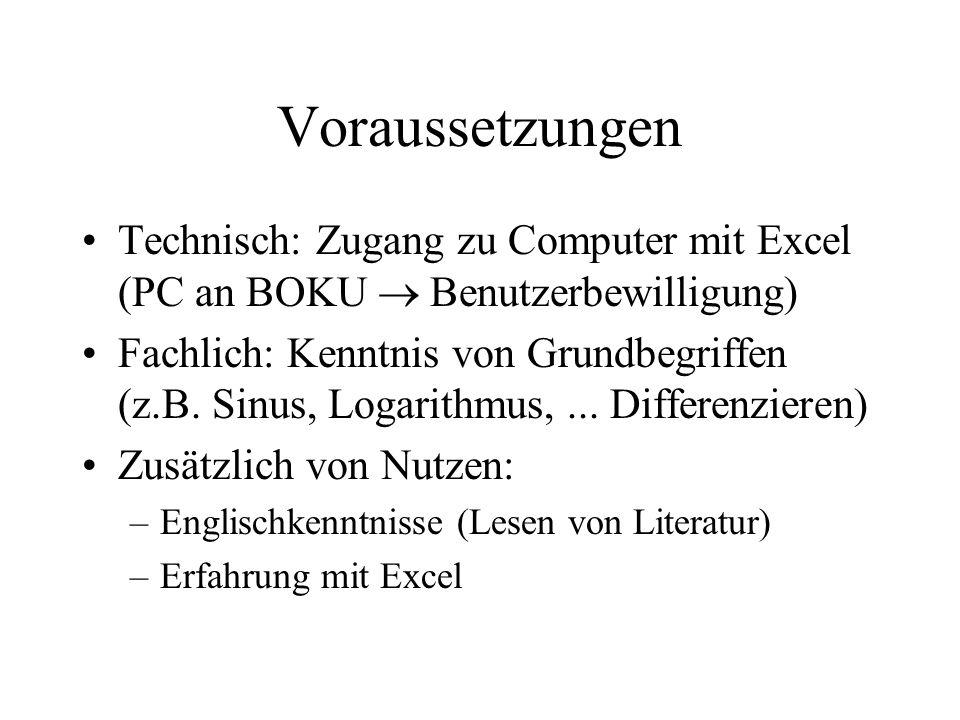Voraussetzungen Technisch: Zugang zu Computer mit Excel (PC an BOKU  Benutzerbewilligung)