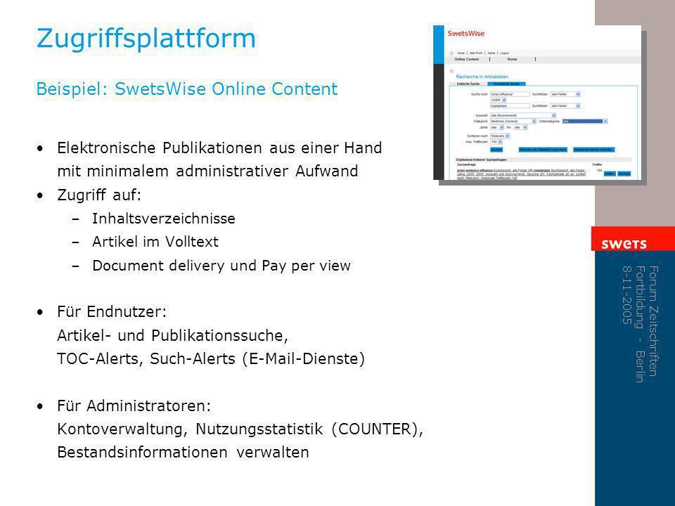 Zugriffsplattform Beispiel: SwetsWise Online Content