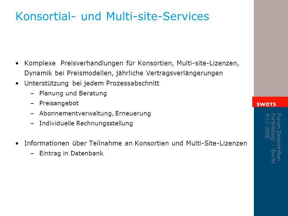 Konsortial- und Multi-site-Services