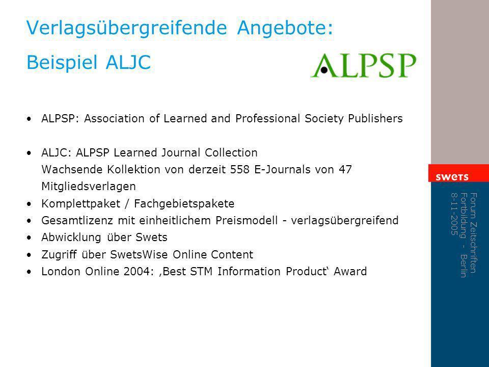 Verlagsübergreifende Angebote: Beispiel ALJC