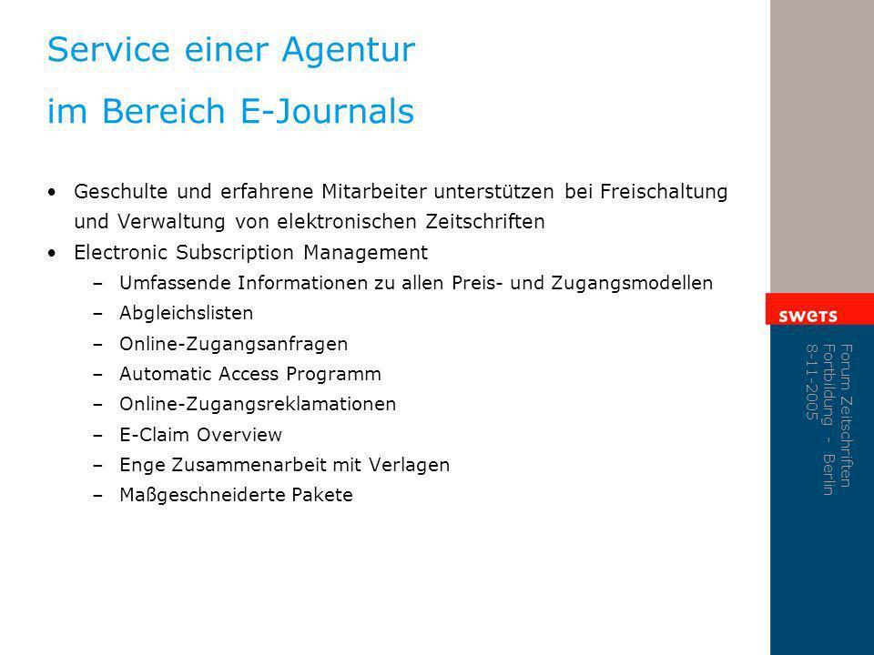 Service einer Agentur im Bereich E-Journals
