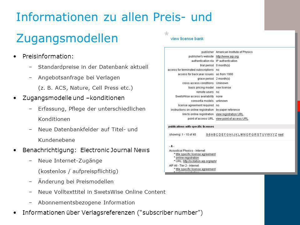 Informationen zu allen Preis- und Zugangsmodellen