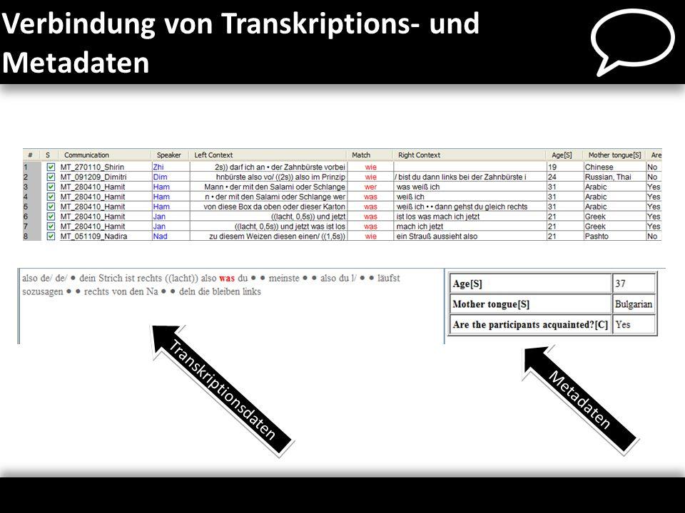 Verbindung von Transkriptions- und Metadaten