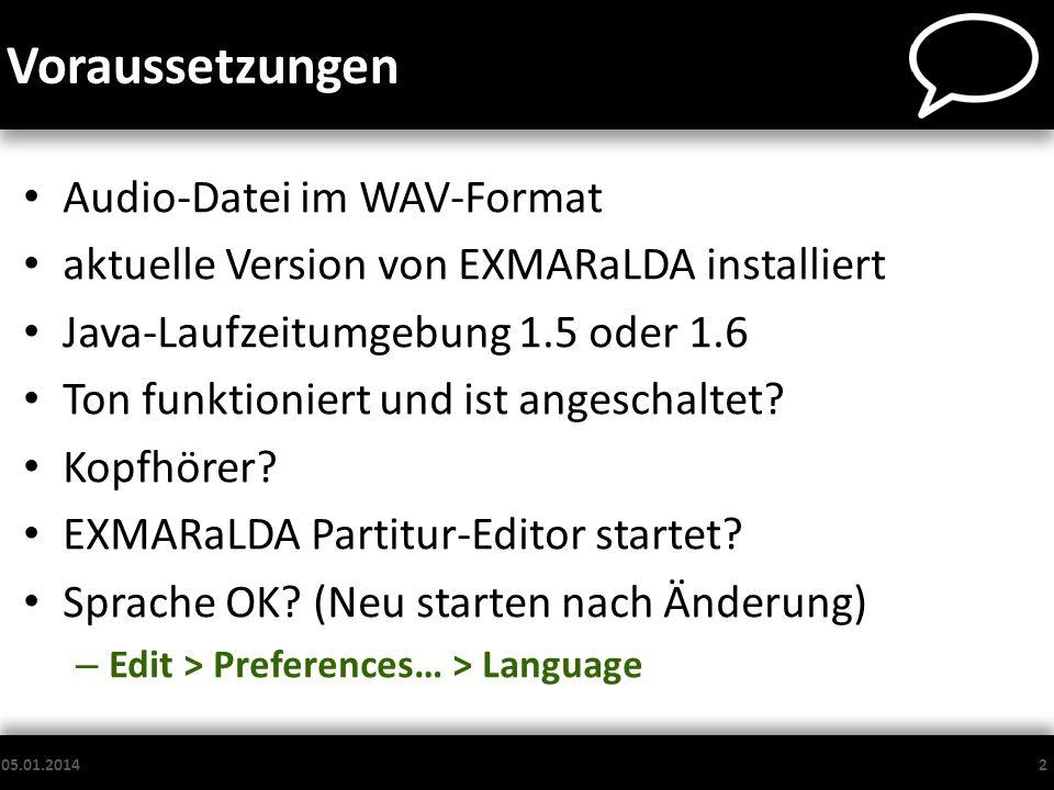 Voraussetzungen Audio-Datei im WAV-Format