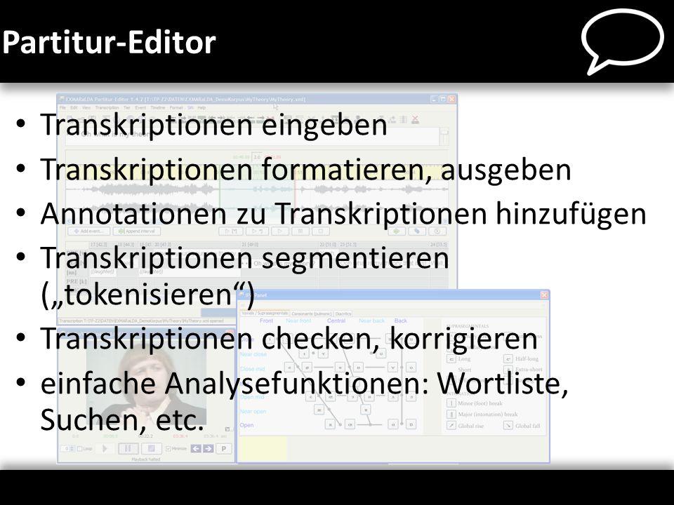 Partitur-Editor Transkriptionen eingeben