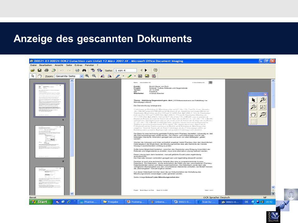 Anzeige des gescannten Dokuments