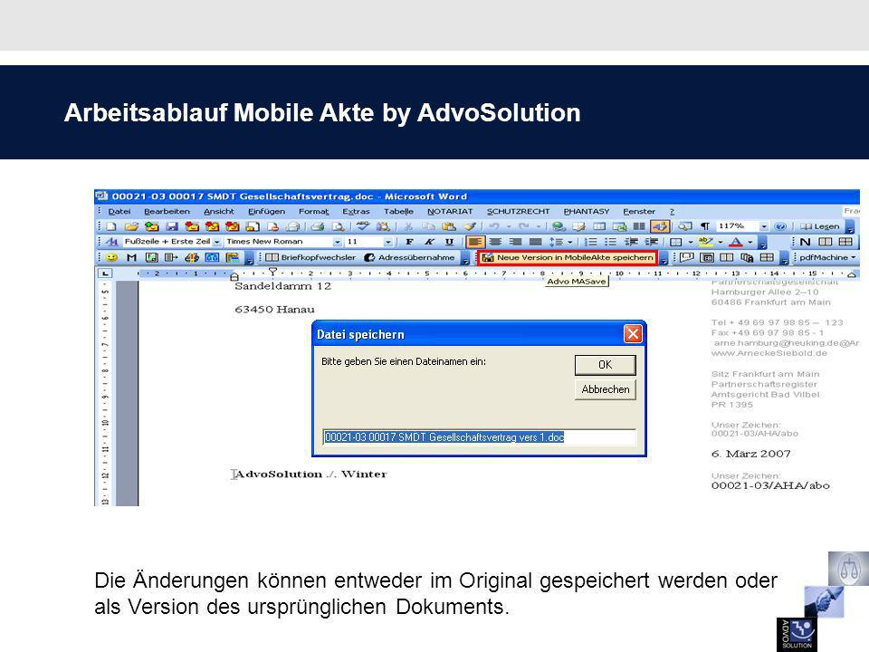 Arbeitsablauf Mobile Akte by AdvoSolution