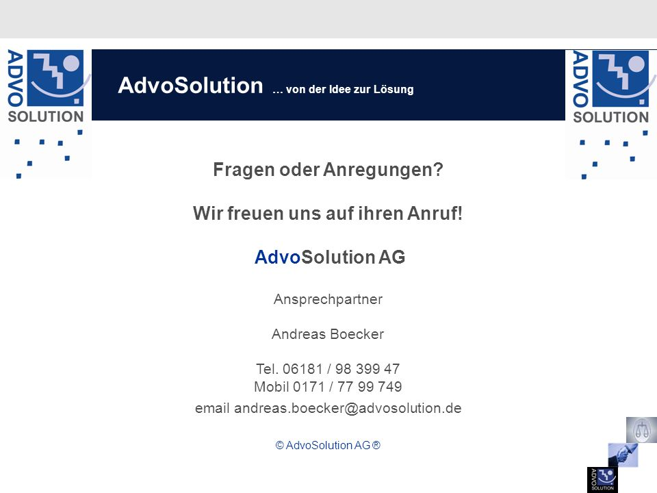 AdvoSolution … von der Idee zur Lösung