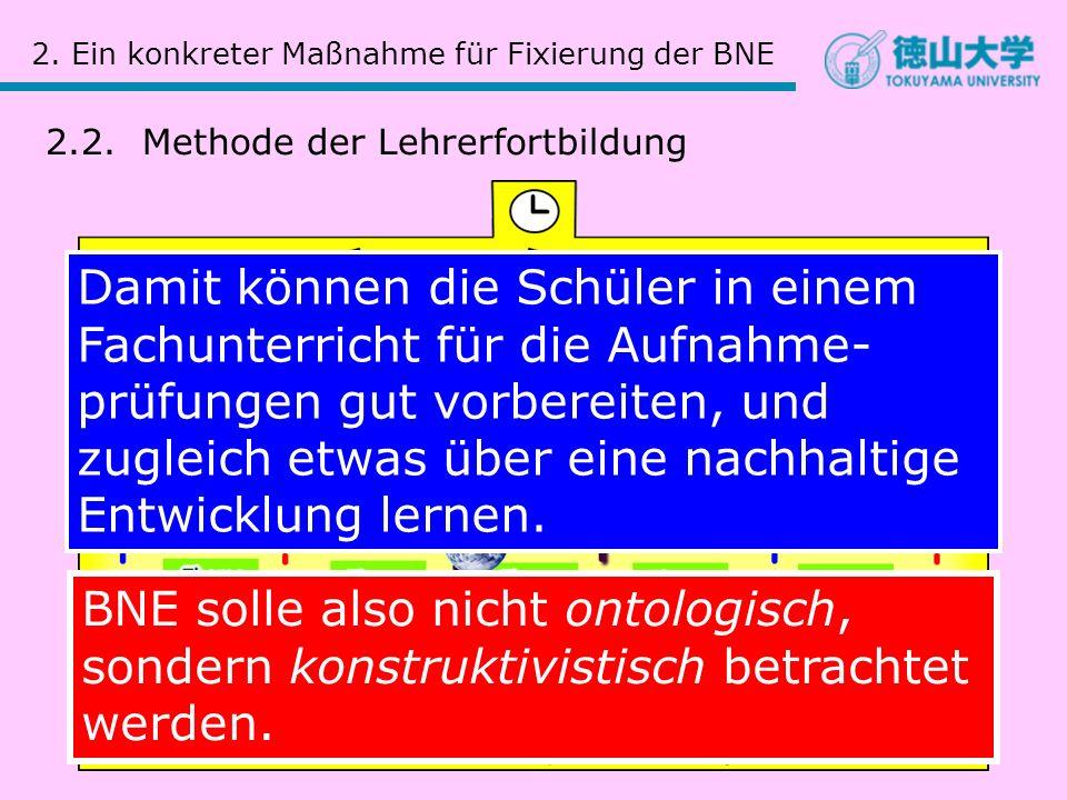 2. Ein konkreter Maßnahme für Fixierung der BNE