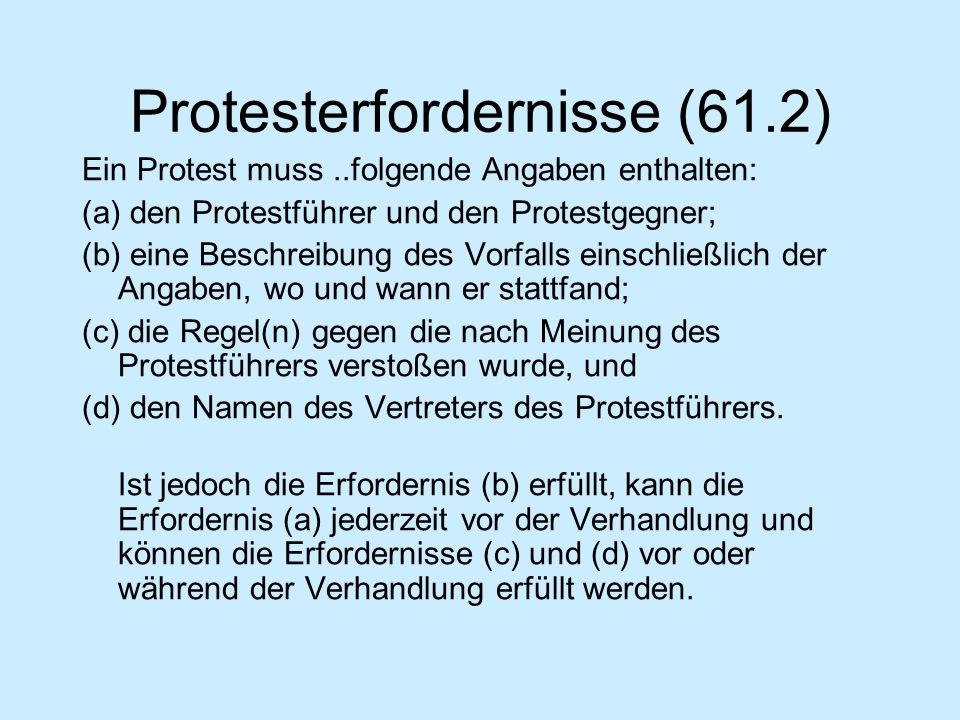 Protesterfordernisse (61.2)