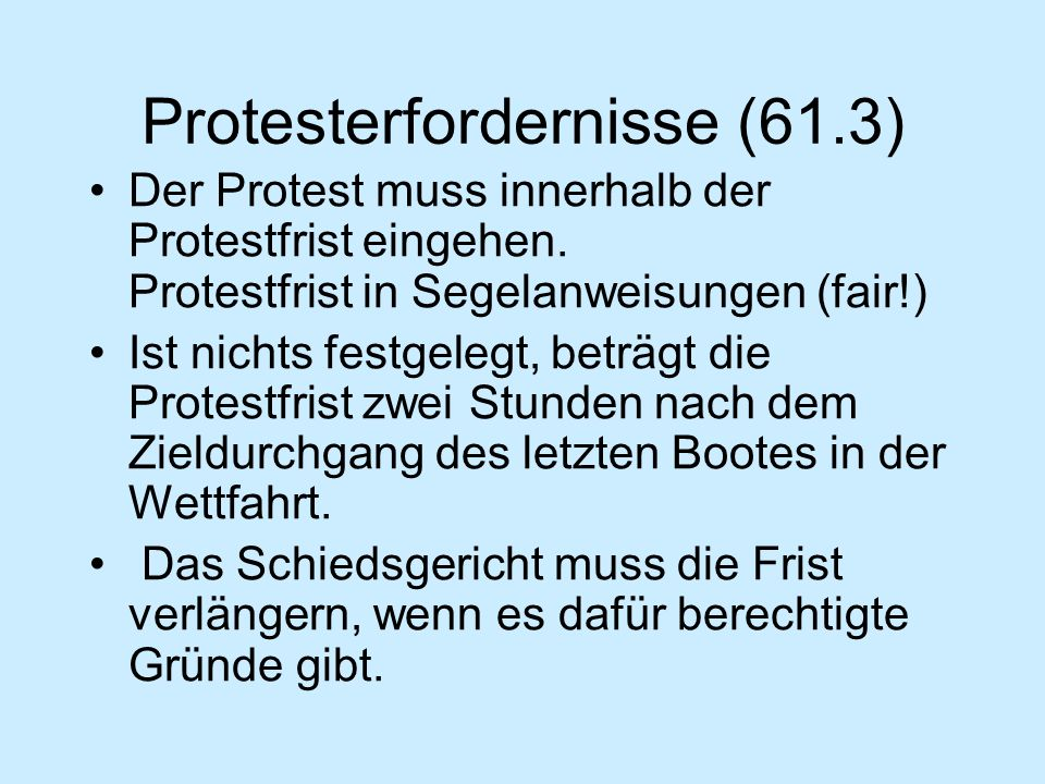 Protesterfordernisse (61.3)