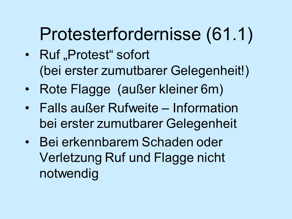 Protesterfordernisse (61.1)