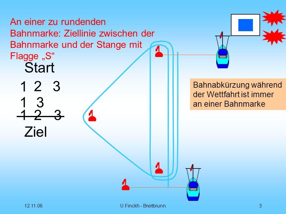 """An einer zu rundenden Bahnmarke: Ziellinie zwischen der Bahnmarke und der Stange mit Flagge """"S"""