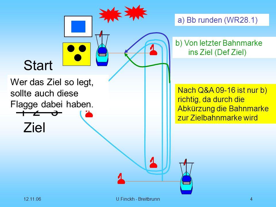 a) Bb runden (WR28.1) b) Von letzter Bahnmarke ins Ziel (Def Ziel) Wer das Ziel so legt, sollte auch diese Flagge dabei haben.