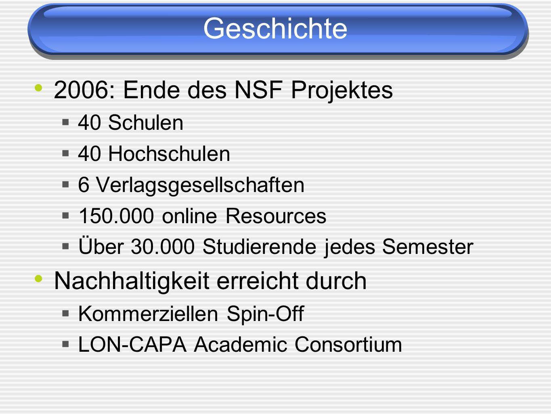 Geschichte 2006: Ende des NSF Projektes Nachhaltigkeit erreicht durch